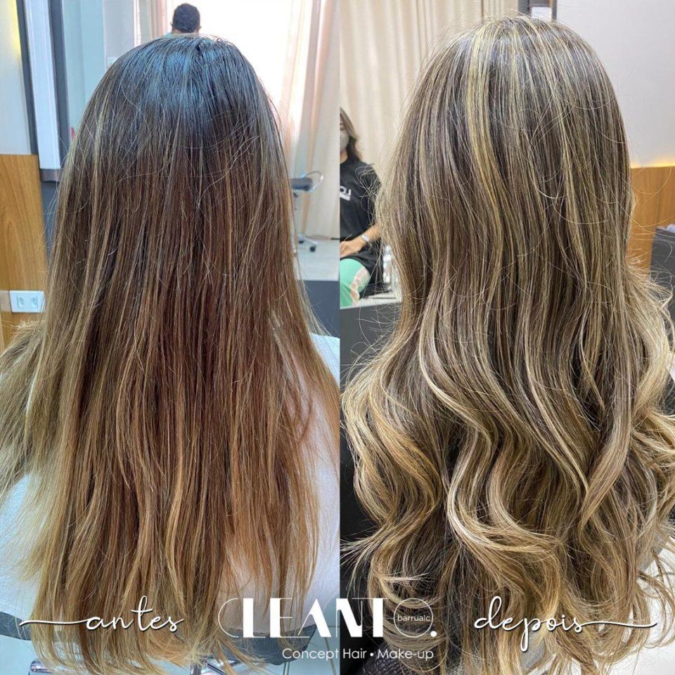 Antes e depois do novo corte de cabelo